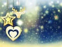 Οι χρυσές μπλε κίτρινες διακοσμήσεις αστεριών χιονιού ελαφιών καρδιών Χριστουγέννων υποβάθρου θολώνουν το νέο έτος απεικόνισης Στοκ εικόνες με δικαίωμα ελεύθερης χρήσης