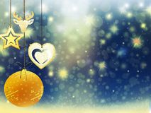 Οι χρυσές μπλε κίτρινες διακοσμήσεις αστεριών χιονιού σφαιρών ελαφιών καρδιών Χριστουγέννων υποβάθρου θολώνουν το νέο έτος απεικό Στοκ εικόνες με δικαίωμα ελεύθερης χρήσης