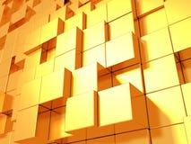 Οι χρυσοί κύβοι αφαιρούν το φουτουριστικό υπόβαθρο Στοκ εικόνες με δικαίωμα ελεύθερης χρήσης