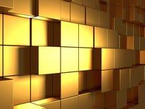 Οι χρυσοί κύβοι αφαιρούν το φουτουριστικό υπόβαθρο Στοκ φωτογραφία με δικαίωμα ελεύθερης χρήσης
