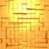 Οι χρυσοί κύβοι αφαιρούν το φουτουριστικό υπόβαθρο Στοκ Εικόνα
