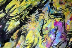 Οι χρυσοί σκοτεινοί ρόδινοι κυκλικοί παφλασμοί, ζωηρόχρωμα ζωηρά κέρινα χρώματα, αντιπαραβάλλουν το δημιουργικό υπόβαθρο Στοκ Φωτογραφία