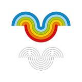 Οι χρωματισμένες γραμμές υπό μορφή χαμόγελου διανυσματική απεικόνιση