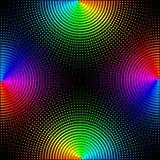 Οι χρωματισμένοι κύκλοι, σφαίρες σε ένα μαύρο υπόβαθρο είναι μονωμένοι Μοντέρνη διανυσματική απεικόνιση για το σχέδιο Ιστού διανυσματική απεικόνιση