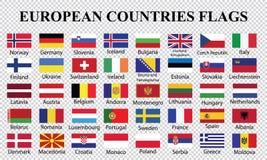 Σημαίες χωρών της Ευρώπης διανυσματική απεικόνιση