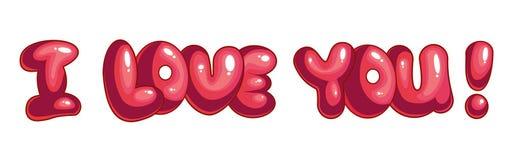 οι όμορφες καρδιές ι γυαλιού μορφής επιγραφή σας αγαπούν Στοκ Εικόνα