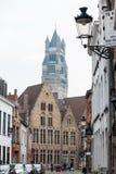 Οι όμορφες οδοί της ιστορικής πόλης της Μπρυζ στοκ εικόνα