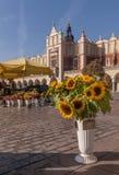 Οι όμορφοι ηλίανθοι και άλλα λουλούδια στην πώληση στην κύρια αγορά τακτοποιούν στην Κρακοβία, Πολωνία στοκ εικόνες