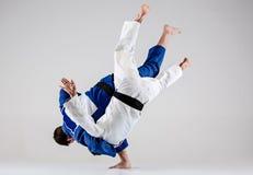 Οι δύο μαχητές judokas που παλεύουν τα άτομα Στοκ Εικόνες