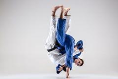 Οι δύο μαχητές judokas που παλεύουν τα άτομα Στοκ εικόνα με δικαίωμα ελεύθερης χρήσης
