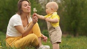 Οι ώριμες κλήσεις μητέρων στο μωρό της και τον διδάσκουν για να φυσήξουν τους σπόρους από τις πικραλίδες Ευτυχής οικογένεια στο π απόθεμα βίντεο