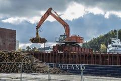 Οι MV Falkbris ξεφορτώνουν την ξυλεία Στοκ Εικόνες