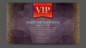 Οι VIP ή η κόκκινη σημαία πολυτέλειας στο σκοτεινό polygonal υπόβαθρο κάνουν από τα τρίγωνα με χρυσό, λαμπρός, ακτινοβολούν σκόνη απεικόνιση αποθεμάτων