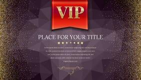 Οι VIP ή η κόκκινη σημαία πολυτέλειας στο σκοτεινό polygonal υπόβαθρο κάνουν από τα τρίγωνα με χρυσό, λαμπρός, ακτινοβολούν σκόνη διανυσματική απεικόνιση