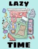 Οκνηρή κάρτα ύφους χρονικών χαριτωμένη κινούμενων σχεδίων Χρονοτριβώ απεικόνιση αποθεμάτων