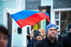 2017 - 7 Οκτωβρίου, Ρωσία Μόσχα: νέος διαμαρτυρόμενος Στοκ Εικόνα