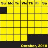 2018 Οκτώβριος κίτρινος στο μαύρο ημερολόγιο αρμόδιων για το σχεδιασμό απεικόνιση αποθεμάτων