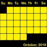 2018 Οκτώβριος κίτρινος στο μαύρο ημερολόγιο αρμόδιων για το σχεδιασμό μεγάλο ελεύθερη απεικόνιση δικαιώματος