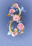 Οκτώ από τα ρόδινα τριαντάφυλλα απεικόνιση αποθεμάτων