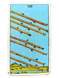 8 οκτώ από την εσπευσμένη ορμή φυλών βιασύνης βιασύνης δραστηριότητας Κινήματος δράσης ταχύτητας καρτών Tarot ράβδων ελεύθερη απεικόνιση δικαιώματος