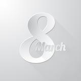 Οκτώ από την κάρτα χαιρετισμού Μαρτίου ελεύθερη απεικόνιση δικαιώματος