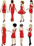 Οκτώ κυρίες στα κόκκινα φορέματα κοκτέιλ Στοκ εικόνα με δικαίωμα ελεύθερης χρήσης