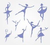 Οκτώ σκιαγραφίες των χορευτών μπαλέτου στα φορέματα μπαλέτου καθορισμένα διανυσματικά Στοκ Φωτογραφίες