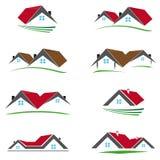 Οκτώ χρωματισμένα εικονίδια σπιτιών διανυσματική απεικόνιση