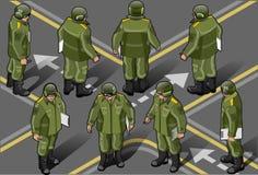 οκτώ isometric σύνολο θέσης ατόμων στρατιωτικό ελεύθερη απεικόνιση δικαιώματος