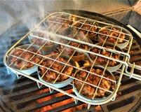 Ολισθαίνοντες ρυθμιστές χοιρινού κρέατος που ψήνουν στη σχάρα στο ράφι ολισθαινόντων ρυθμιστών στοκ φωτογραφία με δικαίωμα ελεύθερης χρήσης