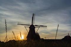 Ολλανδικός ανεμόμυλος, μικρό χωριό στη βόρεια Βραβάνδη, μύλος και FI καλαμποκιού Στοκ Εικόνα