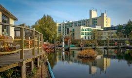 Ολλανδικό τοπίο με τα κανάλια νερού Στοκ Εικόνες