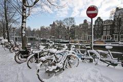 ολλανδικό χιόνι ποδηλάτω&nu Στοκ Εικόνες