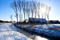 Ολλανδικό farmhouse το χειμώνα Στοκ Εικόνα