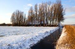 Ολλανδικό farmhouse το χειμώνα Στοκ Φωτογραφία