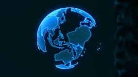 Ολογραφικός πλανήτης Γη από τα μόρια Το στοιχείο HUD απεικόνιση αποθεμάτων