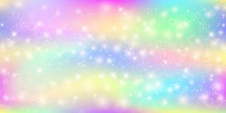 Ολογραφικό μαγικό υπόβαθρο με τα σπινθηρίσματα, τα αστέρια και τις θαμπάδες νεράιδων ελεύθερη απεικόνιση δικαιώματος