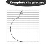 Ολοκληρώστε την εικόνα, μαύρη άσπρη σφαίρα Χριστουγέννων κινούμενων σχεδίων, που σύρει τις δεξιότητες εκπαιδευτικός, εκπαιδευτικό διανυσματική απεικόνιση