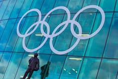 Ολυμπιακά δαχτυλίδια Μάντσεστερ Στοκ φωτογραφία με δικαίωμα ελεύθερης χρήσης