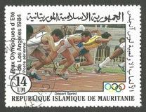 Ολυμπιακοί Αγώνες στο Λος Άντζελες, τρέξιμο Στοκ Εικόνα