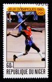 Ολυμπιακοί Αγώνες της Μόσχας - ακόντιο, Ολυμπιακοί Αγώνες serie, circa 1980 Στοκ φωτογραφία με δικαίωμα ελεύθερης χρήσης