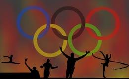Ολυμπιακοί λογότυπο και αγώνες στοκ εικόνα