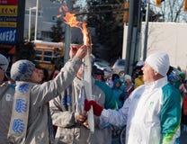 ολυμπιακός φανός ηλεκτρ& στοκ φωτογραφίες