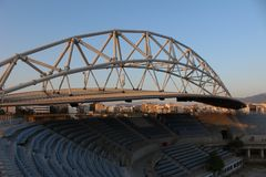 Ολυμπιακό κέντρο πετοσφαίρισης παραλιών Faliro - ολυμπιακός σύνθετος παράκτιας ζώνης Faliro 14 έτη μετά από τους θερινούς Ολυμπια στοκ εικόνα