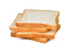 Ολόκληρη φέτα ψωμιού σίτου που απομονώνεται στο λευκό Στοκ εικόνες με δικαίωμα ελεύθερης χρήσης