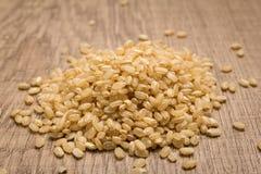 Ολόκληρος κοντός σπόρος ρυζιού σιταριού Σωρός των σιταριών στον ξύλινο πίνακα στοκ εικόνες