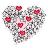 Ομάδα ανθρώπων κινούμενων σχεδίων που κάνει μια μορφή καρδιών Στοκ εικόνες με δικαίωμα ελεύθερης χρήσης