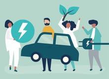 Ομάδα ανθρώπων με ένα ηλεκτρικό αυτοκίνητο διανυσματική απεικόνιση