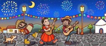 Ομάδα ανθρώπων που γιορτάζει Festa Junina στην επαρχία της Βραζιλίας τη νύχτα Στοκ Εικόνες