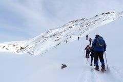 Ομάδα ανθρώπων που στα πλέγματα σχήματος ρακέτας και το πανόραμα χιονιού βουνών με το μπλε ουρανό στις Άλπεις Stubai Στοκ Εικόνες
